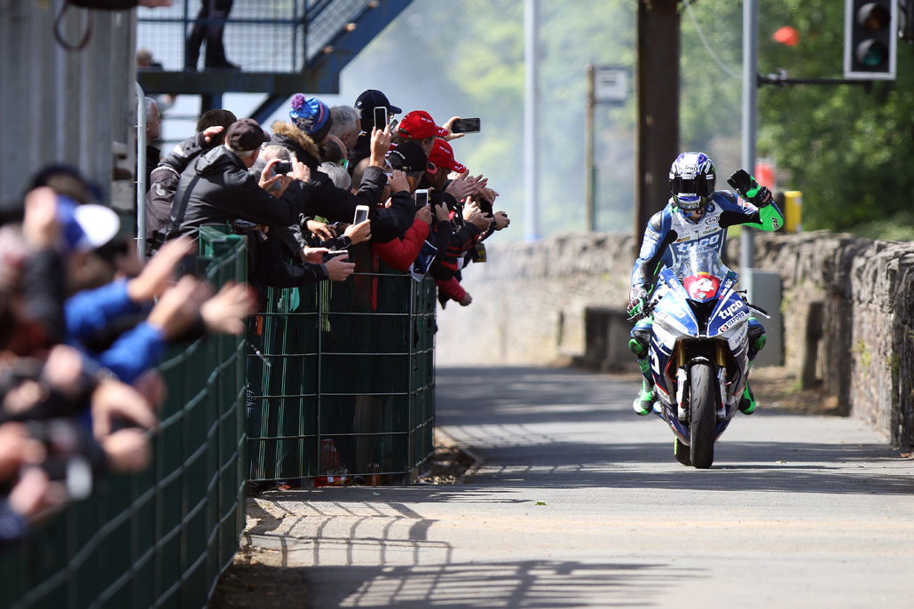 PACEMAKER, BELFAST, 7/6/2017: Ian Hutchinson celebrates winning the Superstock TT today on his Tyco BMW. PICTURE BY STEPHEN DAVISON