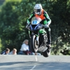 PACEMAKER, BELFAST, 30/05/2017: Isle of Man TT newcomer Adam Mclean (Kawasaki/MSS Colechester Kawasaki) leaps Ballaugh Bridge on his speed-controlled lap on the opening night of practice. PICTURE BY DAVE KNEEN/PACEMAKER PRESS