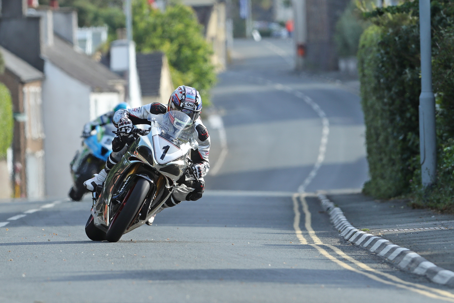 31/05/2017: David Johnson (Norton/Norton Motorcycles) through the village of Kirk Michael during qualifying for the Isle of Man TT. PICTURE BY DAVE KNEEN/PACEMAKER PRESS.