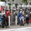 PACEMAKER, BELFAST, 9/6/2017: Dean Harrison (Silicone Kawasaki) and Peter Hickman (Smith's BMW) during the pitstop in the Senior TT .PICTURE BY STEPHEN DAVISON