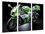 Modernes Wandbild fotografico Moto Kawasaki zx-10r, grün, Straße, 97x 62cm, Ref. 26669