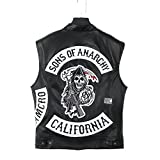 Sons of Anarchy Jacket - Ärmellos 100% Büffelleder + 2 Zusätzliche Patches - Lebenslange Garantie - Expresslieferung