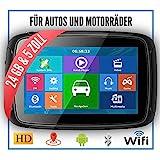 Elebest Rider A5 Pro Navigationsgerät 5 Zoll Motorrad/PKW,Bluetooth,Wasserdicht,Neuste Europa Karten sowie Radarwarner, 24GB Speicher,W-LAN,Internet