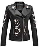 Bellivera Faux Leather Jackets for Women,Soft Casual Short Floral Moto Coat 1702021 Black XX-L