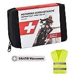GoLab Motorrad Erste Hilfe Set - klein und kompakt, Verbandtasche nach DIN 13167 mit Warnweste für alle europäischen Länder geeignet (Österreich, Schweiz, Italien, Deutschland usw.)