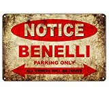 Lorenzo Notice Benelli Motorcycles Parking Only Vintage Metal Vintage Metal Vintage Metallblechschild Wand Eisen Malerei Plaque Poster Warnschild Cafe Bar Pub Bier Club Dekoration