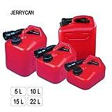 """Nuova Rade Sehr handlicher Treibstofftank   Benzinkanister   Benzintank """"JERRYCAN"""" in den Volumen 5, 10, 15 oder 22 l, aus HDPE Polyethylen mit Tülle"""