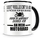 Samunshi Ich denke an mein Motorrad Tasse Kaffeetasse Teetasse Kaffeepott Kaffeebecher Becher Nr.1: schwarz H:95mm / D:82mm