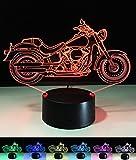 Art Deco Lampen, LED Nachtlampe der LED 3D Farbe die geführte Lichter, Kind-Raum Ausgangsdekoration-bestes Geschenk, Noten Kontroll Licht 7 Farben ändert USB Schreibtisch Lampen (Motorrad)