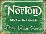 Norton Motorcycles Parts Sales & Service Nostalgische Motorräder Blechschild Norton Motorcycles - Grösse 20x15 cm