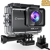 Crosstour CT9500 Echte 4K Action Cam Unterwasserkamera (4K 20MP WiFi Unterwasser 40M Wasserdicht Anti-Shake Helmkamera 2 1350mAh Akkus)