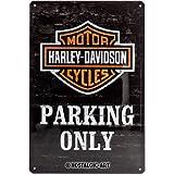 Nostalgic-Art Harley-Davidson – Parking Only – Geschenk-Idee für Motorrad-Fans, Retro Blechschild, aus Metall, Vintage-Dekoration, 20 x 30 cm