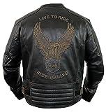 MDM Motorrad Lederjacke mit einer Adler Prägung