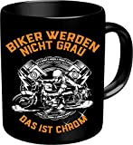 RAHMENLOS Kaffeebecher für ältere Motorradfahrer: Biker werden nicht grau, das ist Chrom! Im Geschenkkarton 2639