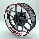 OneWheel Felgenrandaufkleber Motorrad 4er Komplett-Set (17 Zoll) - Felgenaufkleber Bridgestone Battlax weiß-rot (Design 2 - glänzend)