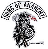 Sons of Anarchy Text and Arched Reaper Logo Patch Set