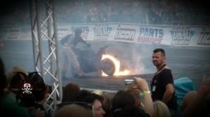 Burnout mit Flammen Motorrad