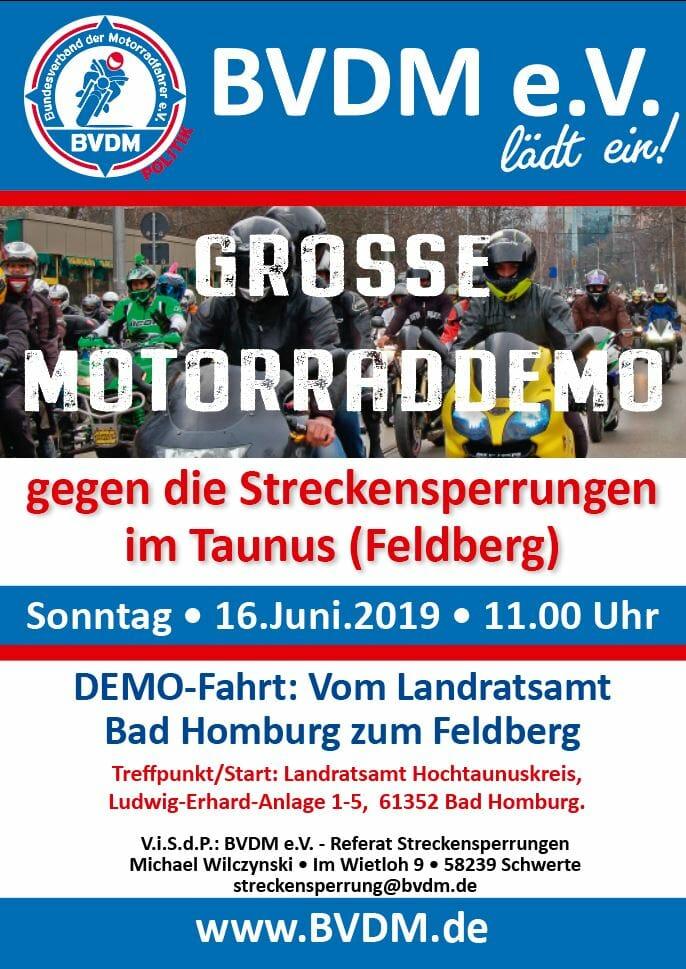 Demo gegen Streckensperrungen im Taununs (Feldberg)