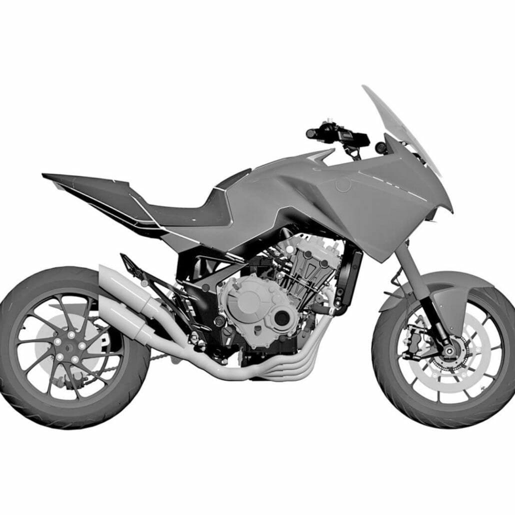 Honda patent: four-cylinder adventure motorcycle