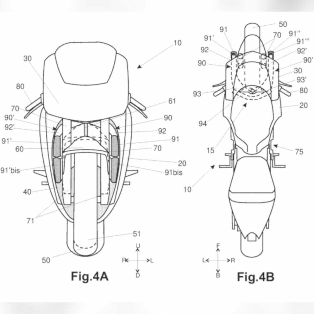 Aprilia patent - active aerodynamics