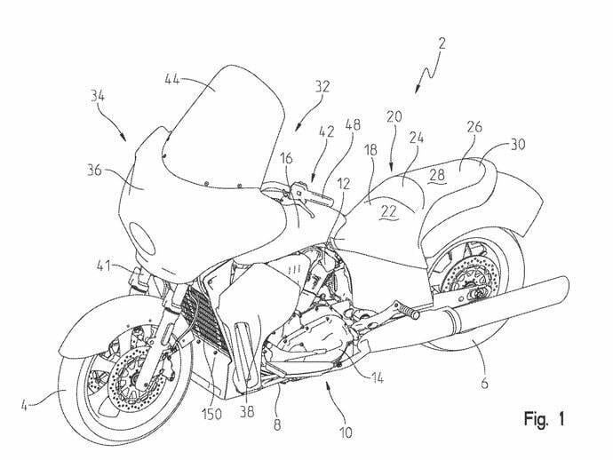 Patent: New Indian Tourer with water cooling
