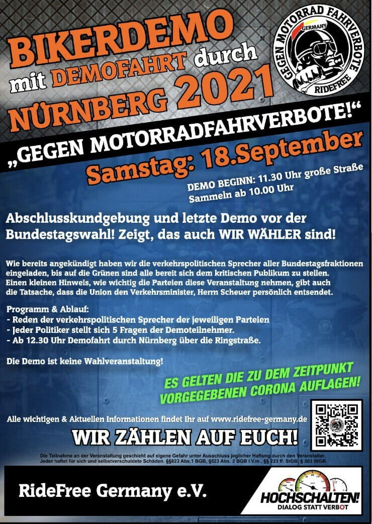 Bikerdemo mit Demofahrt durch Nürnberg